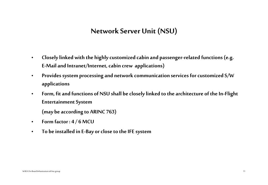 Network Server Unit (NSU)