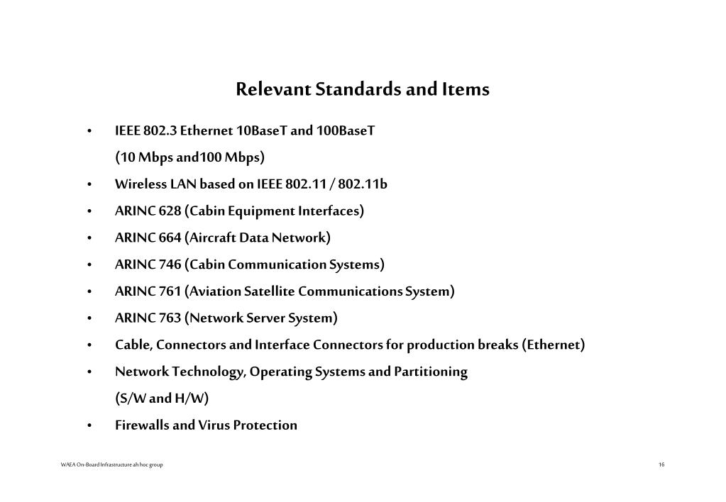 Relevant Standards and Items