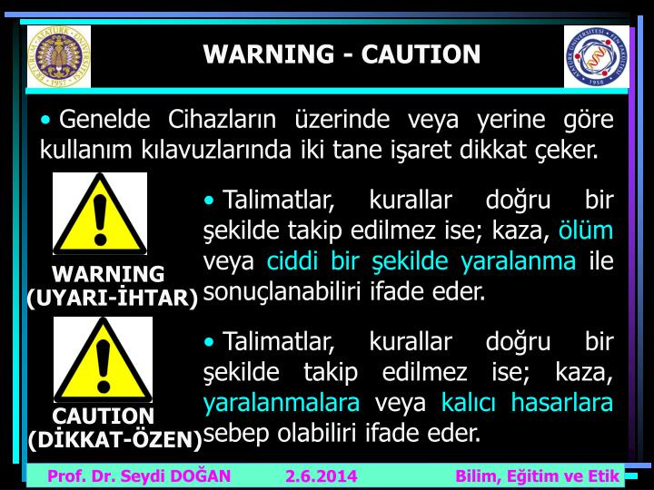 WARNING - CAUTION