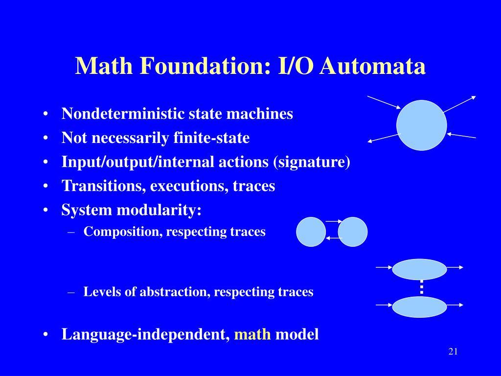 Math Foundation: I/O Automata