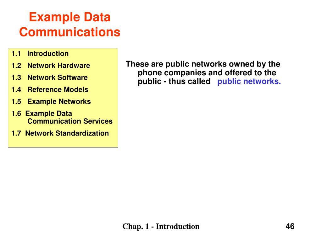 Example Data Communications