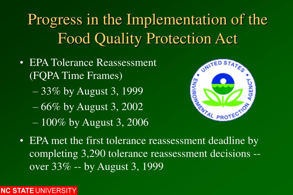 Progress in the Implementation of the Food Quality Protection Act