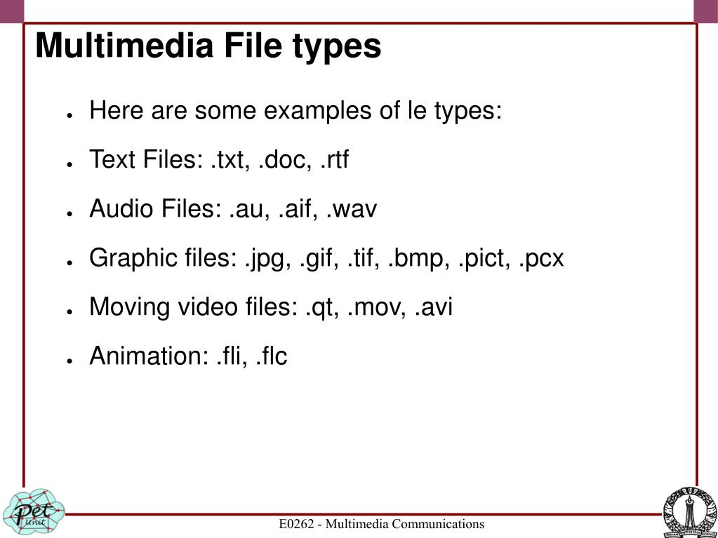 Multimedia File types