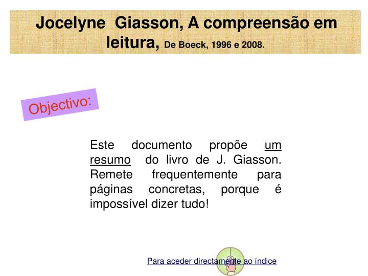 Jocelyne  Giasson, A compreensão em leitura,