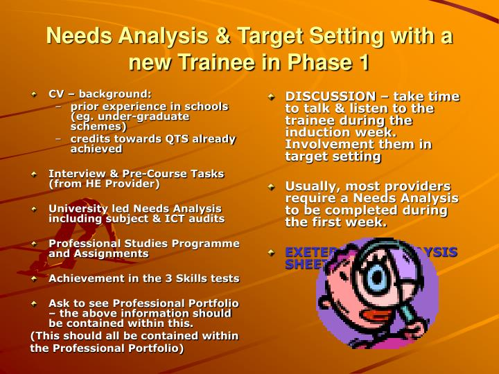 Needs Analysis & Target Setting with a new Trainee in Phase 1
