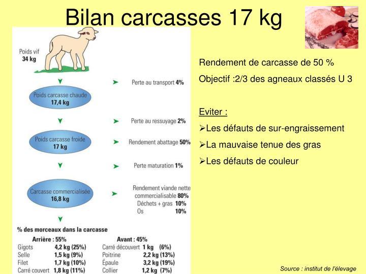 Bilan carcasses 17 kg