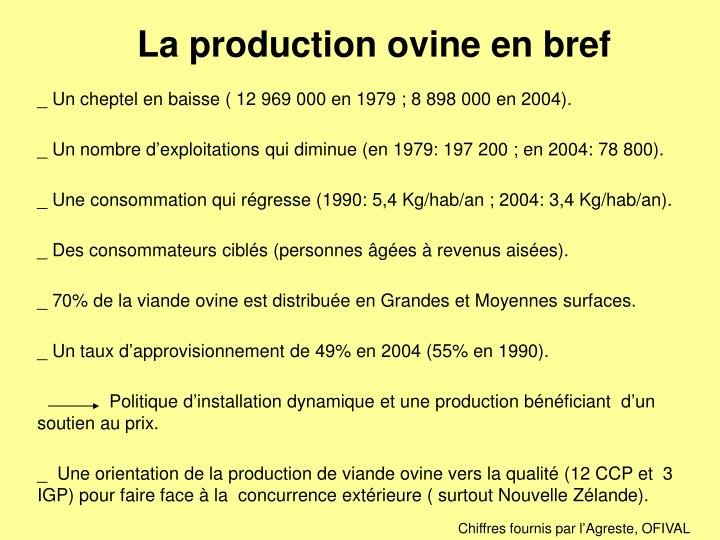 La production ovine en bref