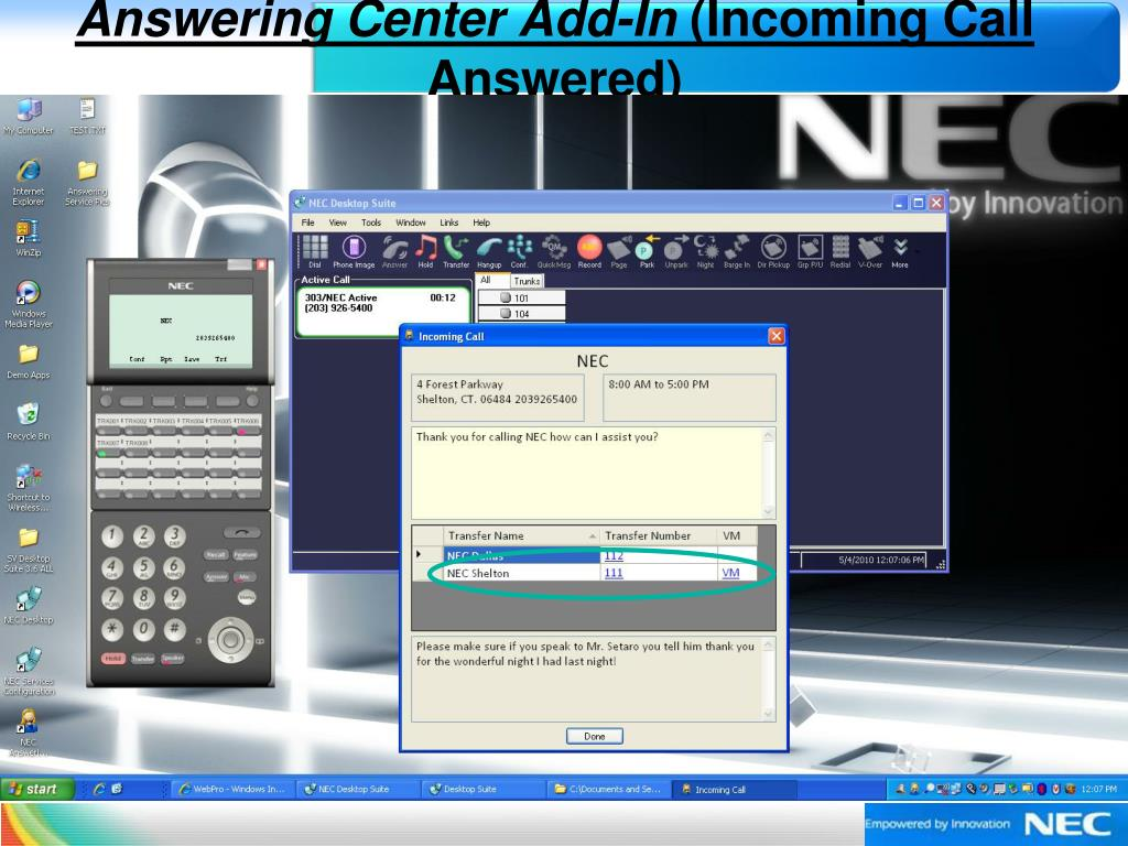 Answering Center Add-In