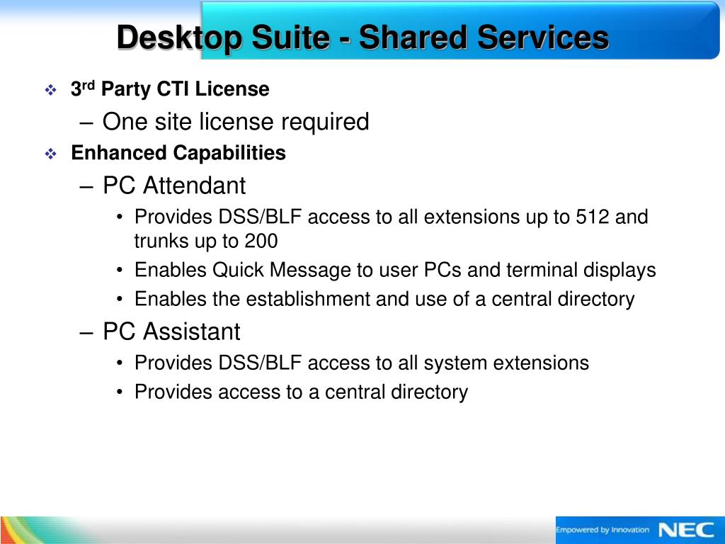 Desktop Suite - Shared Services