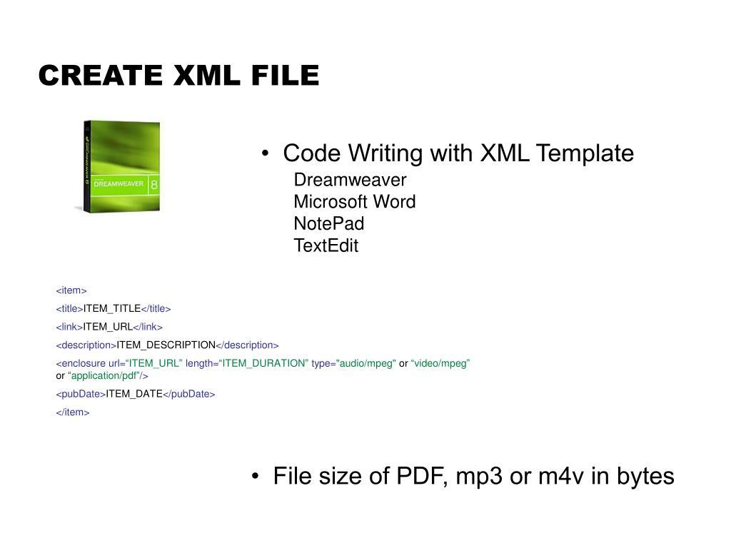 CREATE XML FILE