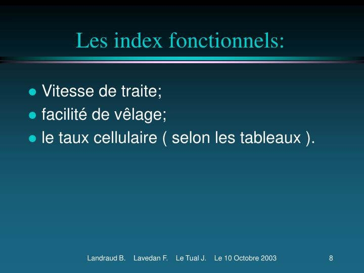 Les index fonctionnels: