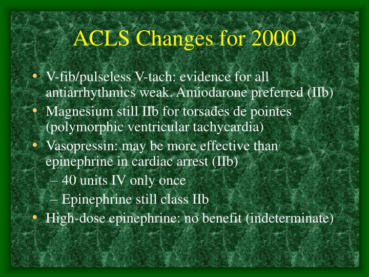 ACLS Changes for 2000