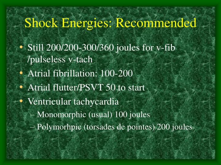 Shock Energies: Recommended
