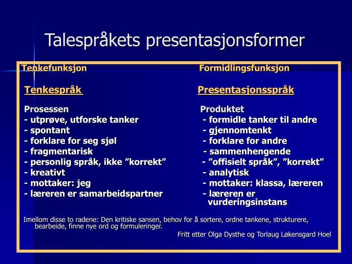 Talespråkets presentasjonsformer
