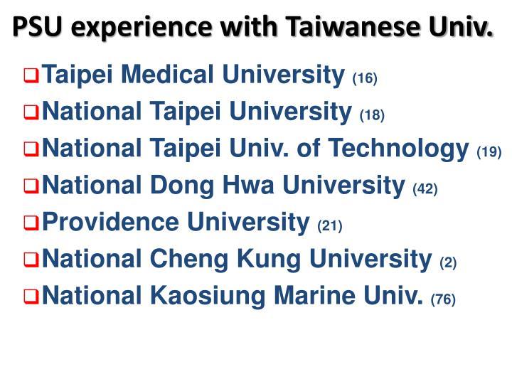 PSU experience with Taiwanese Univ.