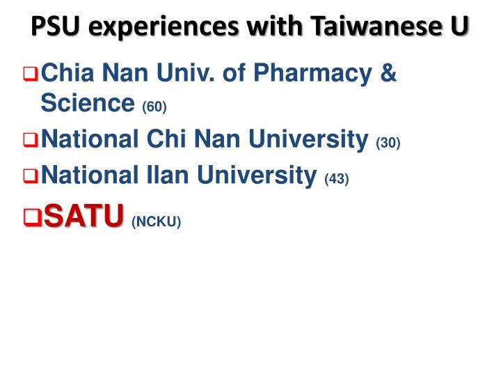 PSU experiences with Taiwanese U