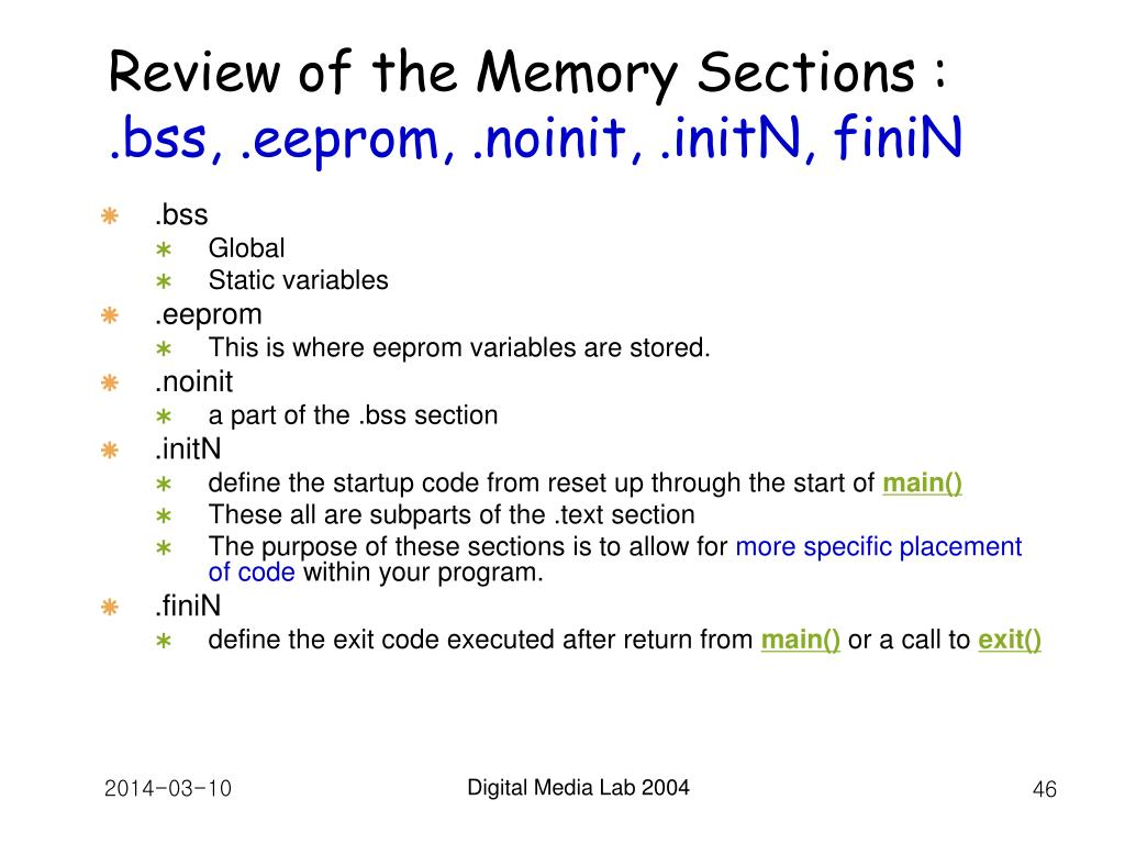 Review of the Memory Sections :