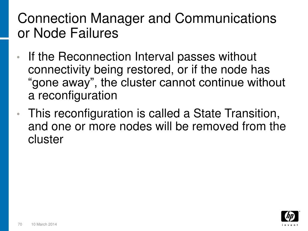 Connection Manager and Communications or Node Failures