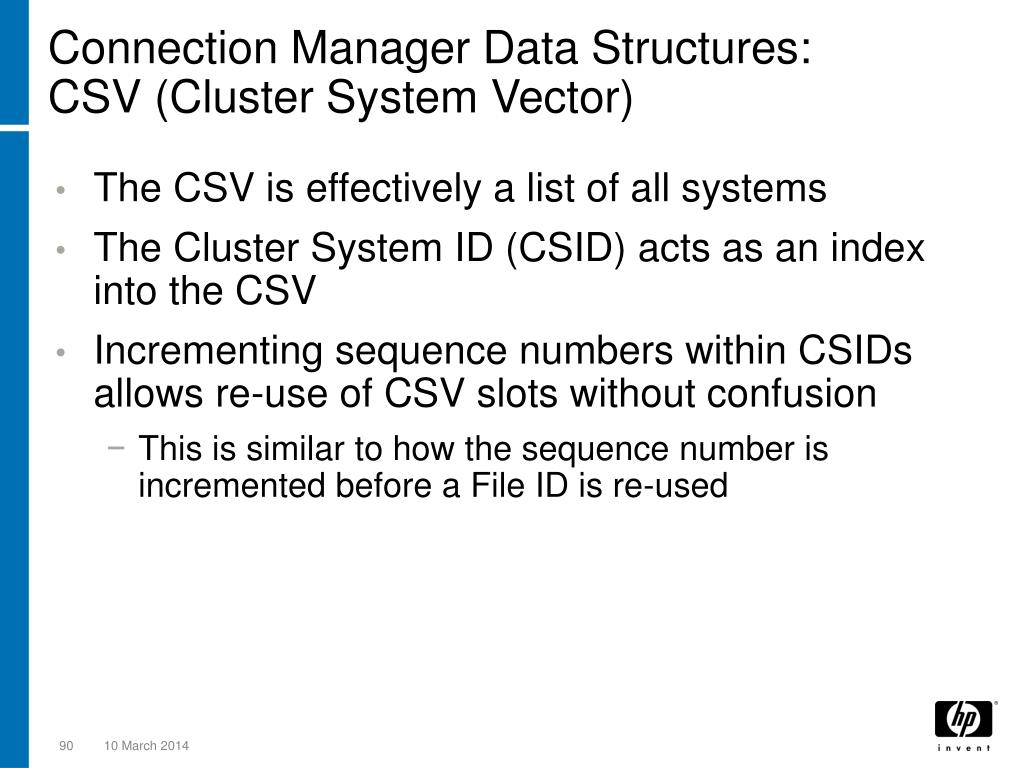 Connection Manager Data Structures: CSV (Cluster System Vector)
