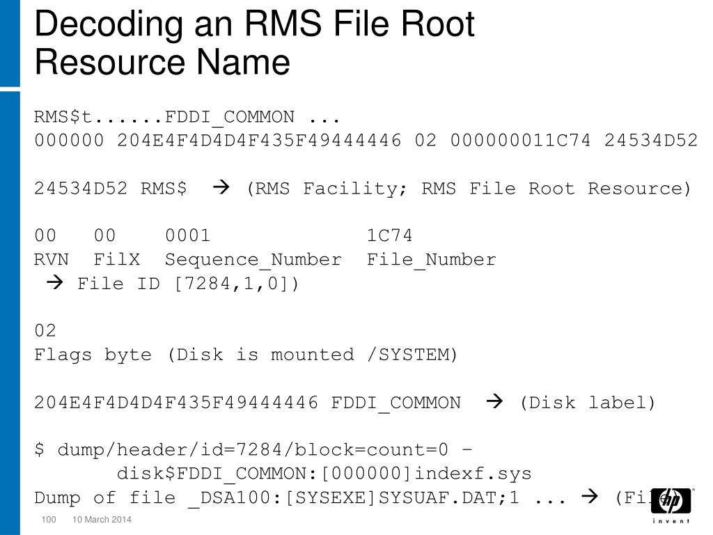 Decoding an RMS File Root Resource Name