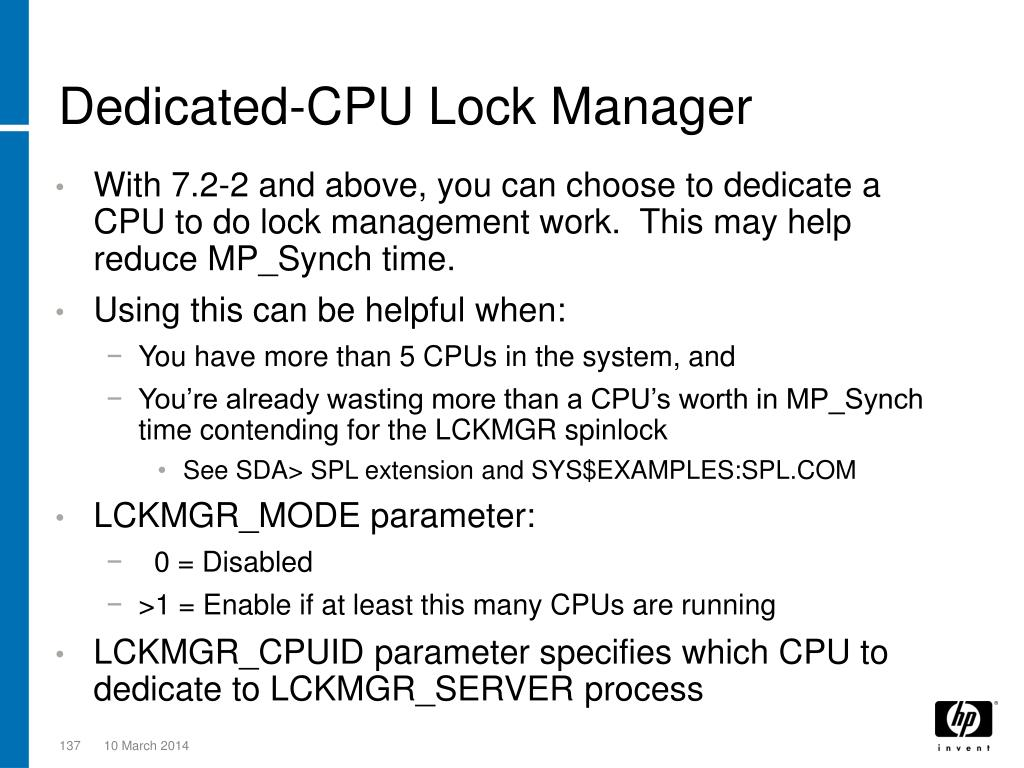 Dedicated-CPU Lock Manager