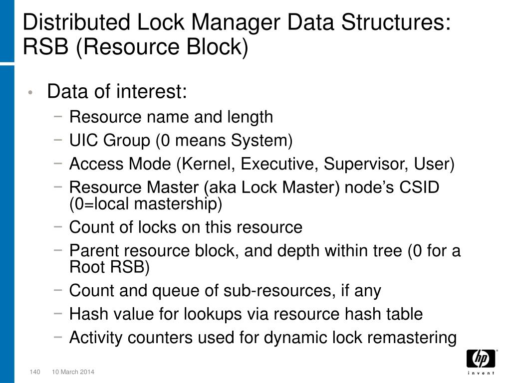 Distributed Lock Manager Data Structures: