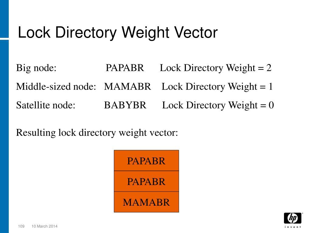 Lock Directory Weight Vector