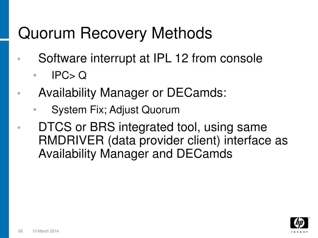 Quorum Recovery Methods