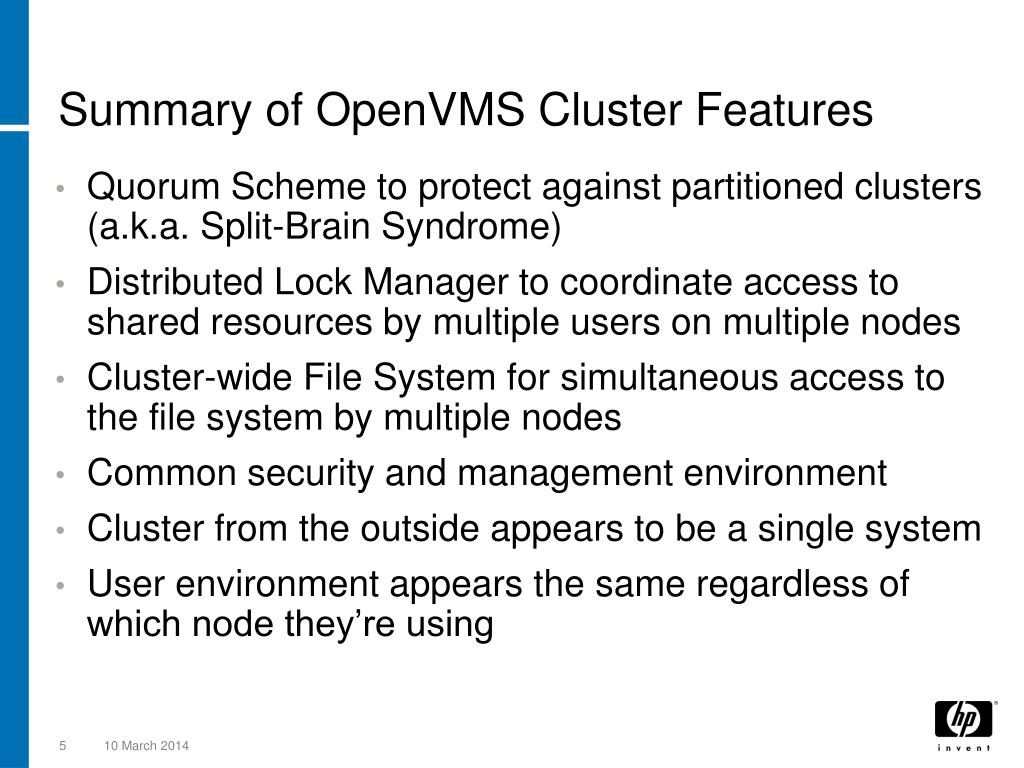 Summary of OpenVMS Cluster Features