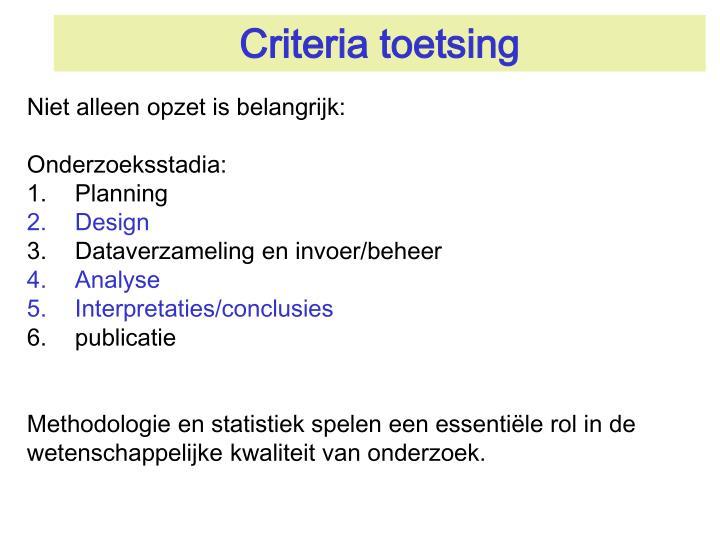 Criteria toetsing