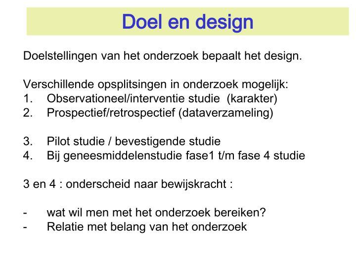 Doel en design