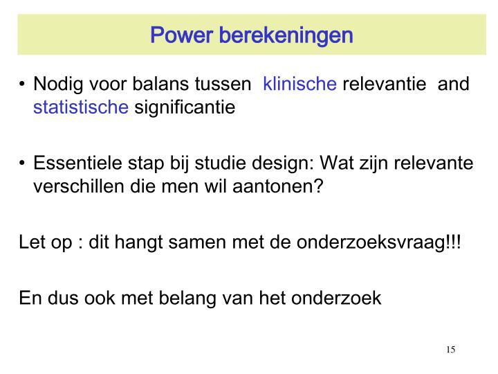Power berekeningen