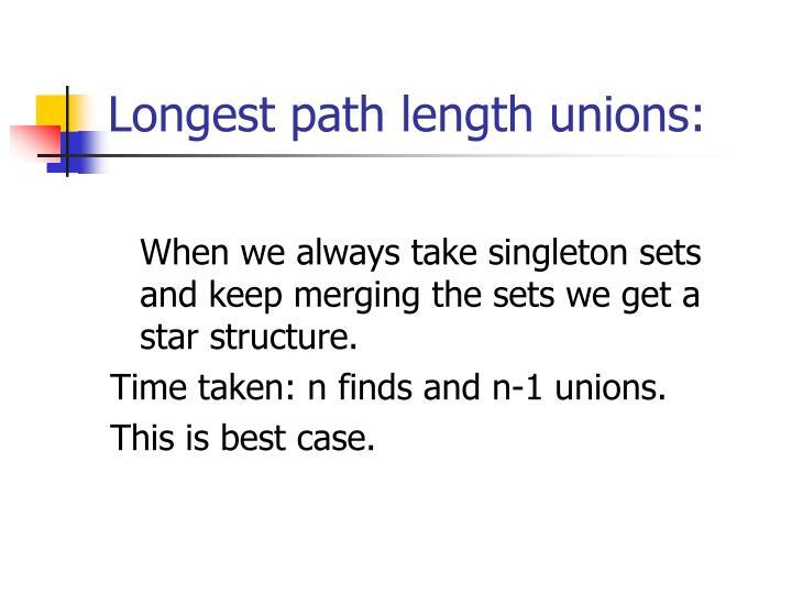 Longest path length unions: