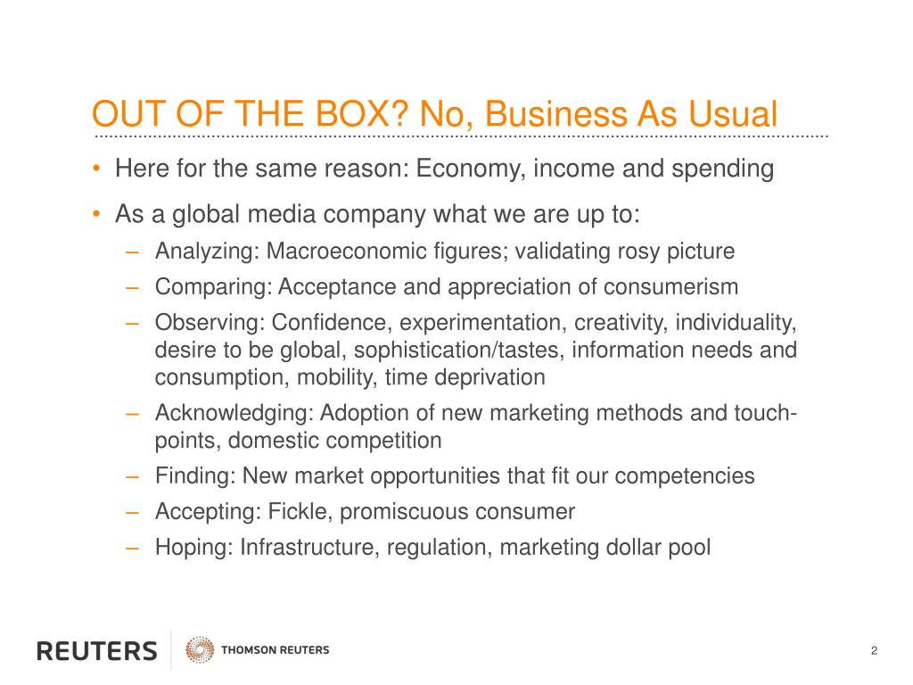 OUT OF THE BOX? No, Business As Usual