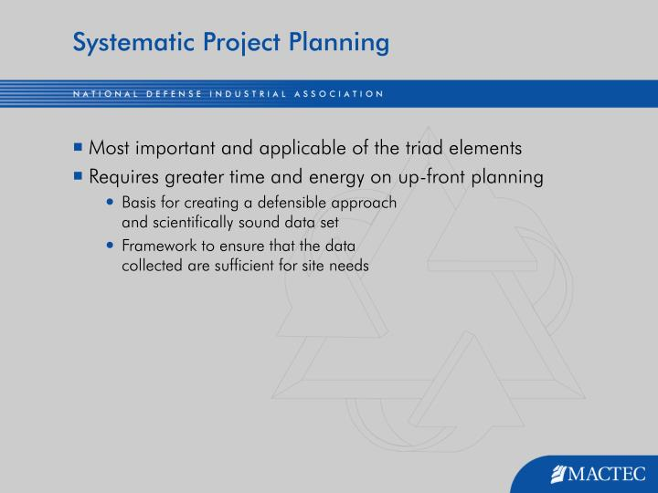 Systematic Project Planning
