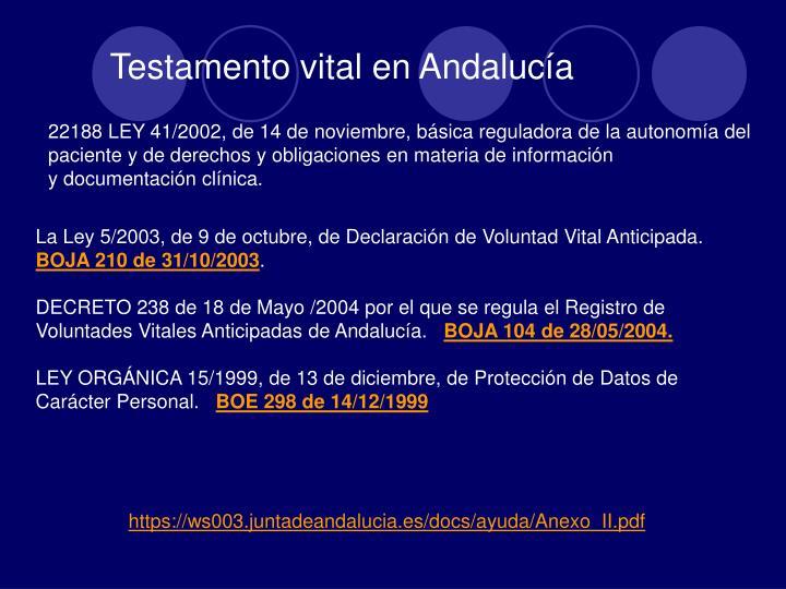 Testamento vital en Andalucía