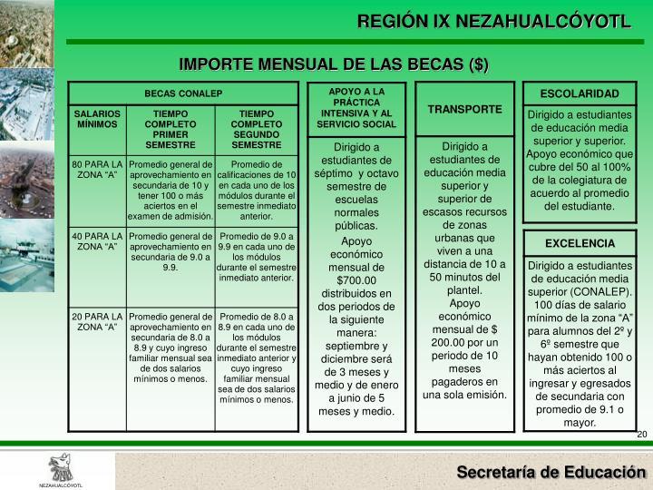 IMPORTE MENSUAL DE LAS BECAS ($)