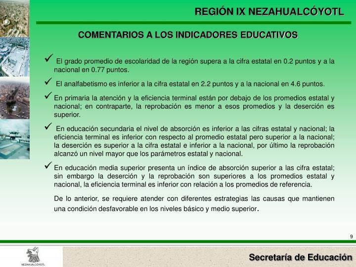 COMENTARIOS A LOS INDICADORES EDUCATIVOS