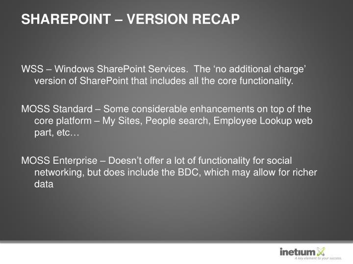 SharePoint – Version Recap