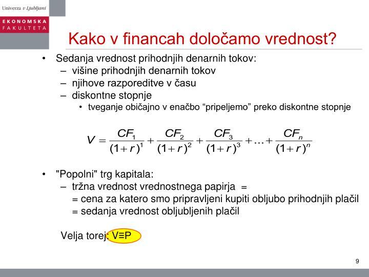 Kako v financah določamo vrednost?