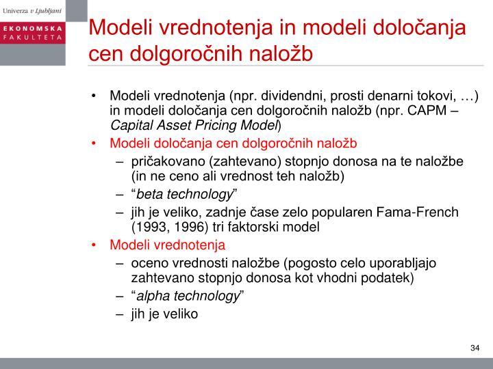 Modeli vrednotenja in modeli določanja cen dolgoročnih naložb