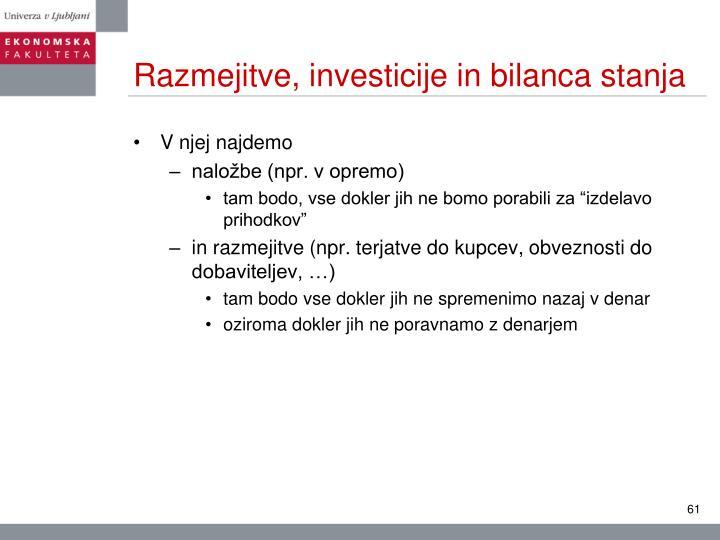 Razmejitve, investicije in bilanca stanja