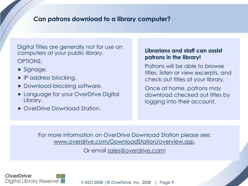 Can patrons download to a library computer?