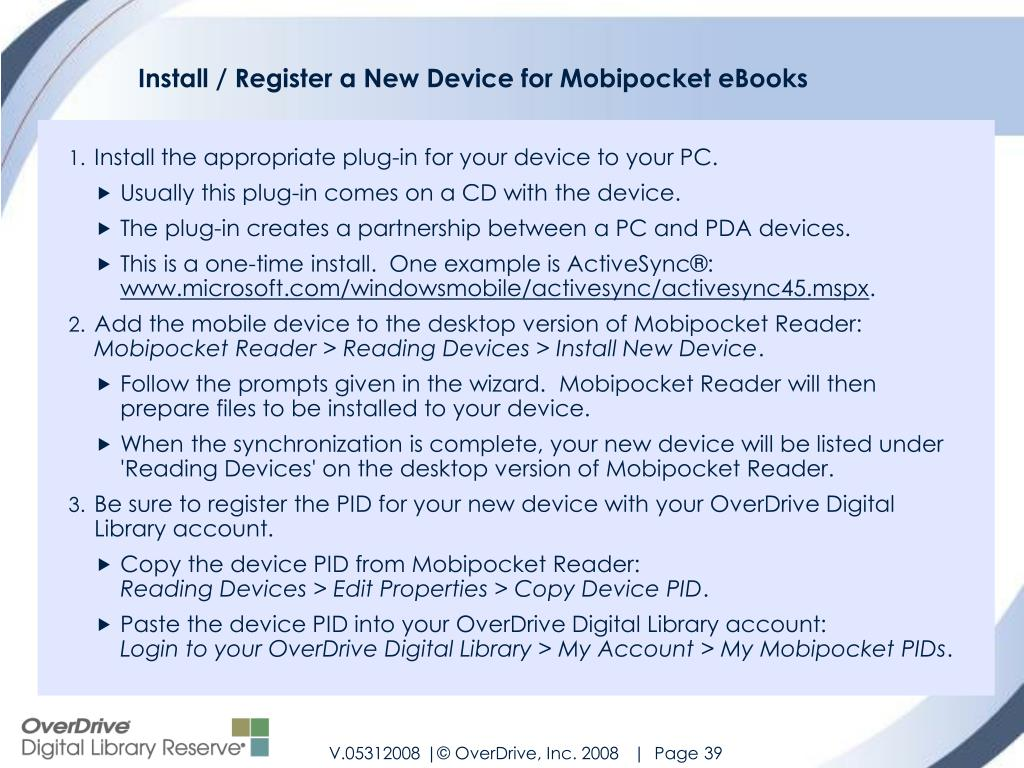 Install / Register a New Device for Mobipocket eBooks