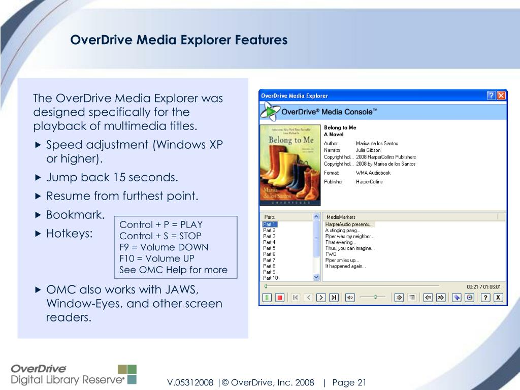 OverDrive Media Explorer Features