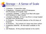 storage a sense of scale