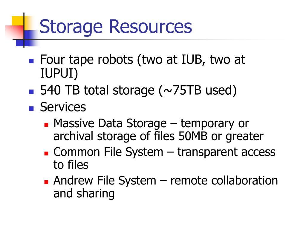 Storage Resources