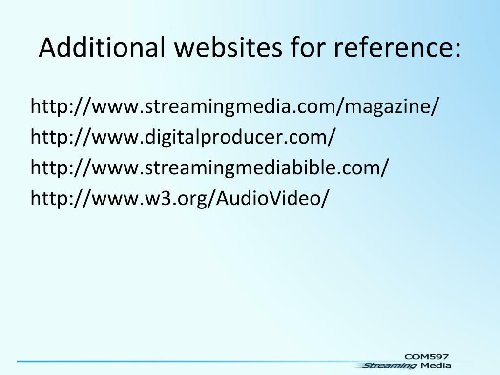 Additional websites for reference: