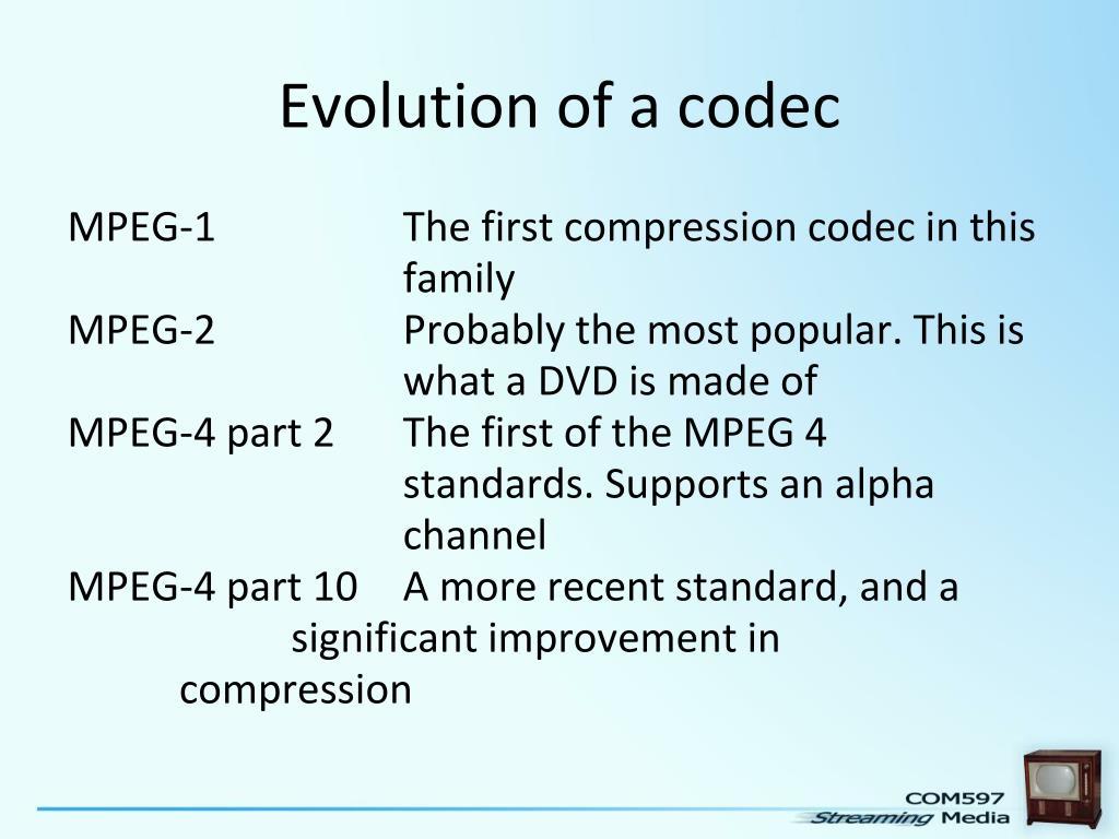 Evolution of a codec