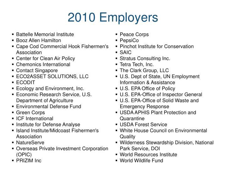 2010 Employers